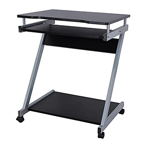Songmics Computer Desk Z-Shaped PC Table Movable Portable Trolley Study Workstation with Sliding Keyboard 4 Wheels 60 x 48 x 73 cm Black LCD811B
