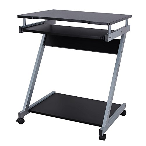 Songmics Computer Desk Z Shaped PC Desk Movable Portable Trolley Study  Workstation With Sliding Keyboard 4 Wheels 60 X 48 X 73 Cm Black LCD811B