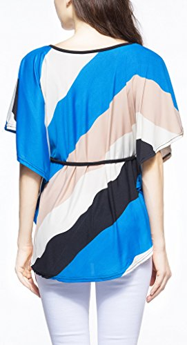 Damen T-Shirt Sommerbluse Shirt kurzarm fledermausärmel rundkragen ausschnitt schräg gestreift locker plus size Belt Blau