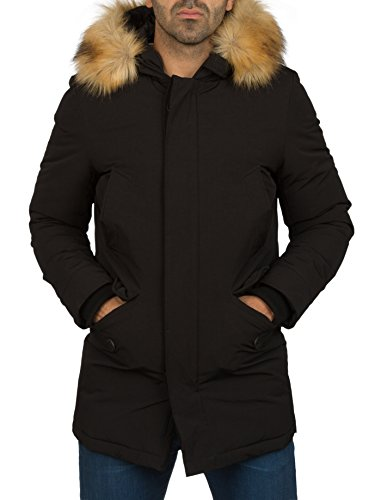 Young & Rich Herren Winterjacke mit Fell Kapuze