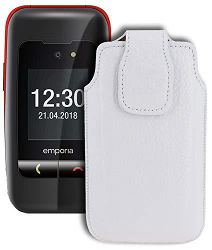 Suncase Original Tasche für Emporia One Hülle Leder Etui Handytasche Ledertasche Schutzhülle Case in vollnarbiges-Weiss