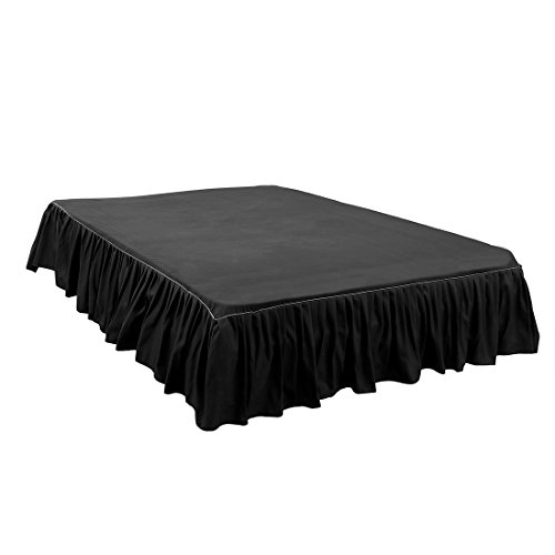 ZCHXD Bed Skirt Brushed Polyester Pleated Styling, with 14 Inch Drop Black Full Size -