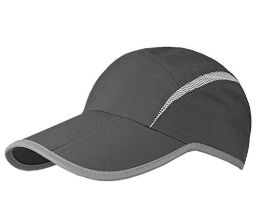 GADIEMENSS Quick Dry Sports Hat Lightweight Breathable Soft Outdoor Running Cap (Folding series, Dark Grey) (Cap Streifen-print)