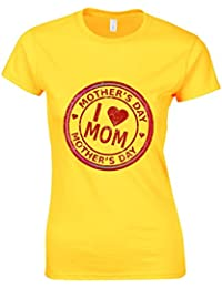 I Love Mom Stamp Mothers Day Womans Cut Shirt Top