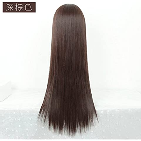 XNWP-Medio natural la peluca negra larga recta peinado cabello largo pelucas, cabello verdadero,marrón