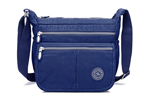 Cross Body Bag for Women,iNeseon Nylon Fabric [Water Resistant & Multi Zip Pockets] Lightweight Small Handbag Shoulder messenger Cross Body Bag for Ladies Deep Blue