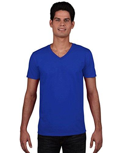 GILDANHerren T-Shirt Blau Royal L,Blau - Royal (Royal V-neck)