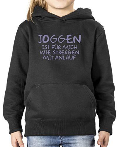 Comedy Shirts - Joggen ist Fuer Mich wie sterben mit Anlauf - Mädchen Hoodie - Schwarz/Violett Gr. 122/128 - Sterben Hoody