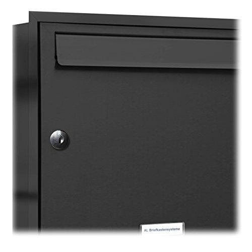 AL Briefkastensysteme, 1er Unterputzbriefkasten in Anthrazit Grau RAL 7016, Briefkastenanlage 1 Fach, Postkasten modern - 2