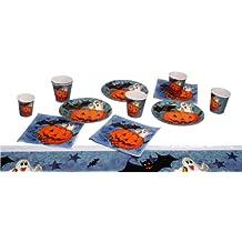 Boland 74480 - Set Tavola Halloween Pumpkin & Friends da 6 Piatti, 6 Bicchieri, 6 Tovaglioli, 1 Tovaglia, Multicolore