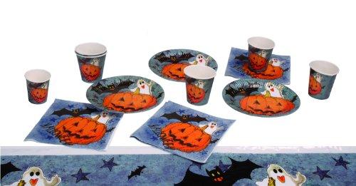 Boland 74480-Juego de Mesa de Halloween Pumpkin & Friends de 6 Platos Llanos, 6 Unidades, 6, Servilletas y 1 Mantel, Diseño de Flores, Multicolor