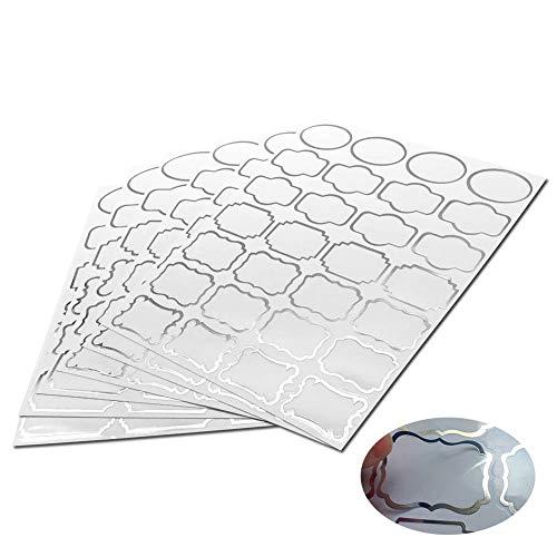 Kumy adesivi etichette trasparenti con bordo argento 138 adesivi autoadesivi con vaso impermeabile con un pennarello indelebile, per decorare la dispensa della cucina