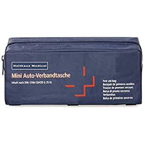 Holthaus Medical mini Verbandtasche fürs Auto, KFZ Verbandskasten Notfall Erste-Hilfe, 22×8,5x8cm, blau