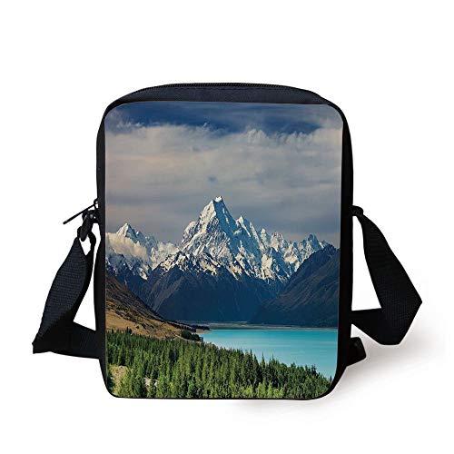 Landscape,Mount Cook and Pukaki Lake in New Zeland Landmark Scenic Scenery Forest,Blue White Green Print Kids Crossbody Messenger Bag Purse -