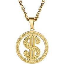 e514e5ad2c73 PROSTEEL Collar para Hombre Placa Hueca de Símbolo de Dólar de los EE.UU.