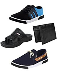STYLIVO Combo Of 4 Men's Canvas, Synthetic Leather Black_Sky Blue Sneakers, Black Sandals, Black Wallet And Navy...