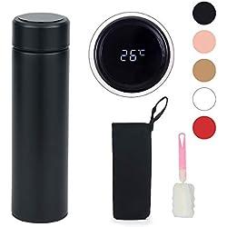 LAOYE Termo Taza 500ML, Café Taza de Viaje, Pantalla LED Táctil Inteligente con Temperatura, Térmica de Doble Pared, Con Cepillo de Esponja - Negro