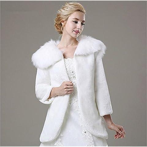Primavera e autunno inverno Giappone e Corea del sud dolce vento nel vento bianco sposa caldo cappotto lungo - Haired Wedding scialle