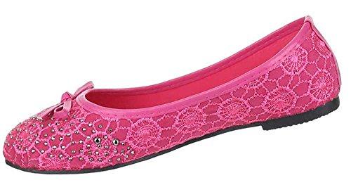 Kinder-Schuhe Ballerinas | elegante Slipper mit Strass und Schleife in verschiedenen Farben und Größen | Schuhcity24 | in Lederoptik Pink