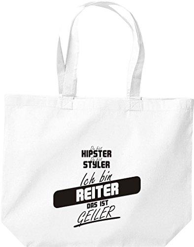 Shirtstown große Einkaufstasche, Shopper du bist hipster du bist styler ich bin Reiter das ist geiler weiss