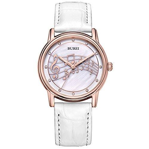 (BUREI Stilvolle Casual Damenuhr Quarz Frauen Armbanduhr mit Perle Anzeigen Juwel und weiß Echtes Lederband)