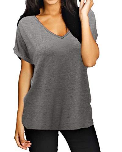 ZANZEA Damen V-Ausschnitte Kurz Ärmel Lose Langshirt T-Shirt Tops Bluse Grau EU 46/Etikettgröße XL -
