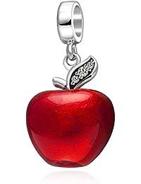 Noël Apple Charm perle Original Argent sterling 925en émail rouge Fruit Charms avec Vert clair CZ Perle