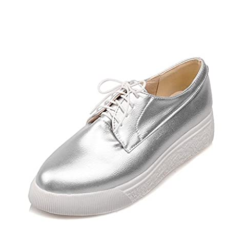 BalaMasa Womens Bandage Platform Solid Silver Urethane Flats Shoes - 5.5 UK