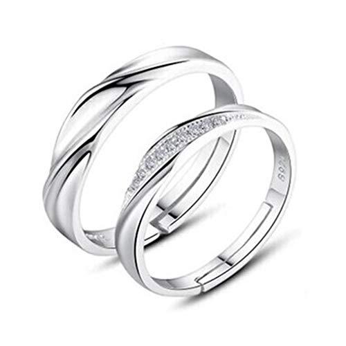 Meisijia 2ST / Set Männer Frauen Paare Ringe Hochzeit Kristall Letters Stulpring Liebe Passender Schmuck -
