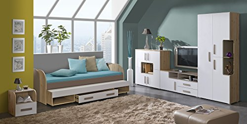 Jugendzimmer Kinderzimmer Set TREY 7-tlg. komplett Bett 200x90 mit Gästebett, Standregal, Kommode, TV-Schrank, Nachtkonsole