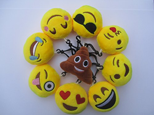 MK Collections Mini Yellow Emoji Keyring / Keychain Emoticon smiley face expressions, Set of 9 Soft stuffed plush toy 6cm Cute cushion pillows, A Novelty gift for kids party bags & party filler / party supplies & used as party favours, decoration or car a