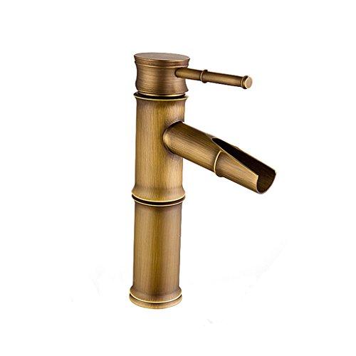 Waschbecken Wasserhahn Wasserfall Auslauf Single Griff EIN Loch Messing Bambus Form Wasserhahn mit Versorgung Schlauch Deck Mount Toilette (größe : 8-inch) -