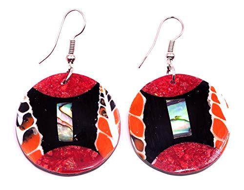 17 - Pendientes de nácar con concha artesanal, étnico, diseño étnico, color coral rojo