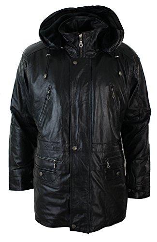 Herren Safari Leder Jacke in Napa Schwarz mit abnembarer Kapuze Schwarz