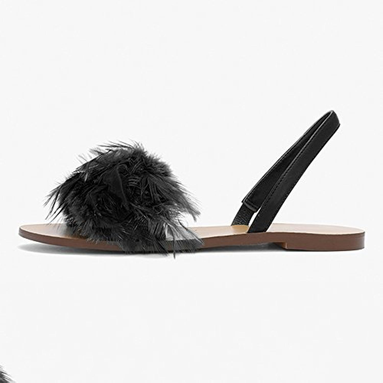 ZHIRONG Sandali piatti con piume morbide, scarpe da spiaggia estive, scarpe da studente gialle   nere   verdi... | Ufficiale  | Sig/Sig Ra Scarpa