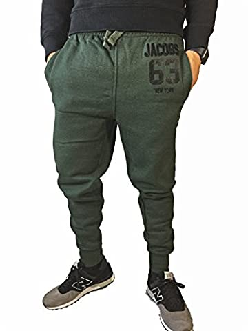 Herren Jogginghose Slim Sweatpants Loose Crotch Statement Blogger Designer Team JACOBS Trainingshose (M, Oliv)