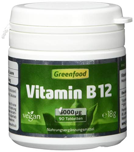 Greenfood Vitamin B12 (Methylcobalamin), hochdosiert, 5000 µg, 90 Tabletten, vegan - für mehr Energie und Ausgeglichenheit. OHNE künstliche Zusätze. Ohne Gentechnik. -