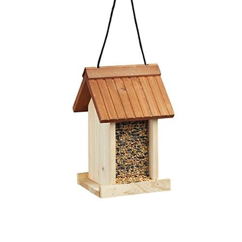 Relaxdays Vogelfutterhaus aus Holz, Unbehandelt, Zum Hängen, Ohne Ständer, HBT: ca. 27 x 17 x 18 cm, braun