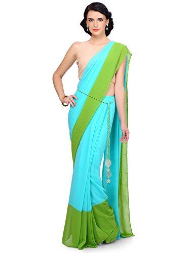 IndusDiva by Nikhil Thampi Pre Pleated Color Block Saree (MUM0750018_Aqua and Green_X-Large)