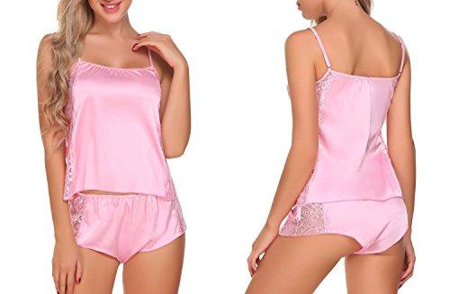 Nachthemd Seide SummerRio Satin Rückenfrei Spitze Dessous Reizwäsche nachtkleid Nachtwäsche Schlafanzüge Pyjama Set mit träger und wickeloptik Rosa