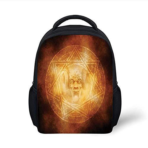 Kids School Backpack Horror House Decor,Demon Trap Symbol Logo Ceremony Creepy Ritual Fantasy Paranormal Design,Orange Plain Bookbag Travel Daypack
