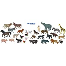 Miniland Educational 154185 - Animales granja y salvajes, 30 piezas