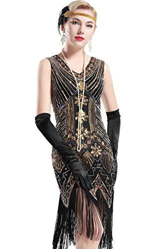 Babeyond Damen Flapper Kleider voller Pailletten Retro 1920er Jahre Stil V-Ausschnitt Great Gatsby Kostüm Kleid (Größe L / UK 16 / EU 44, (Flapper Kostüm Gatsby Kleid)