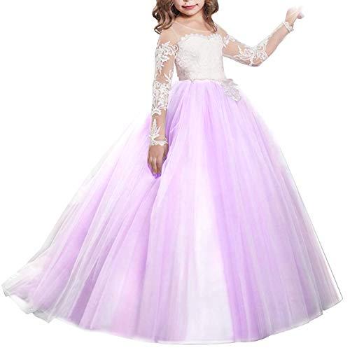 enmädchen Kleid Hochzeitskleid Brautjungfer Lange Abendkleid Spitzenkleid Partykleid Prinzessin Vintage Kleid Tüllkleid Kinder Erste Ballkleid Festzug Cocktailkleid 6-7 Jahre ()