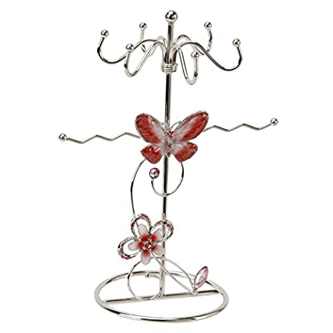 Red & Pink Butterfly and Crystal flower Jewellery Tower Stand Holder