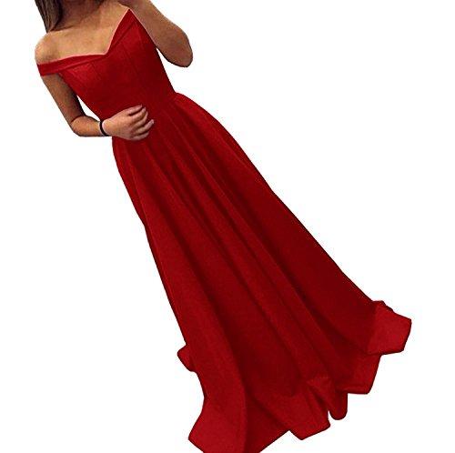 Baijinbai Off Shoulder Abend Kleider Lang Partei Ballkleid Brautjungfernkleider Cocktail Kleider S12Red-UK18 Red Abend Langes Kleid