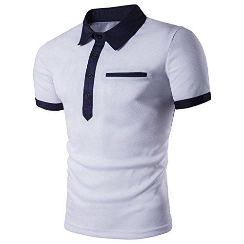 Herren Tops T-shirt ,Dasongff Männer Freizeit Polo Shirt T-shirts Kurzarm Slim Fit Sport Sweatshirt Tops Oberteile Sommerbluse Polohemden (S, Weiß)