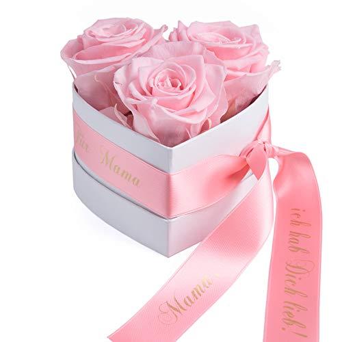 ROSEMARIE SCHULZ Heidelberg Rosenbox Herzform Geschenk zum Muttertag Blumen 3 konservierte Rosen Satinband und Spruch (Rosa, 3 Rosen Mama, ich hab Dich lieb)