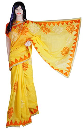 Indian Beauty Boutique Traditional Ethnic Women's Girl's Ladies Yellow Chanderi Transparent Desigen Saree Sarees Handloom Work South Indian Saree with Maching Blouse Piece Free Size Saree