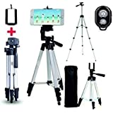 Venganza Adjustable Aluminium Alloy Tripod Stand Holder for Mobile Phones & Camera, 360 mm -1050 mm, 1/4 inch Screw + Mobile Holder Bracket & Shutter Remote Controlle
